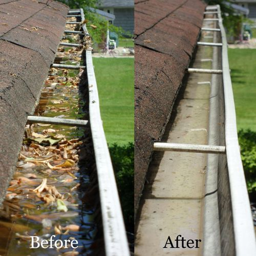 """Are you having trouble with dripping water from your gutters? NO?  Do not wait until the answer is """"YES"""". We  clean  gutters and unclog the downspouts. Wiping by hand, we'll take the dust off of them."""