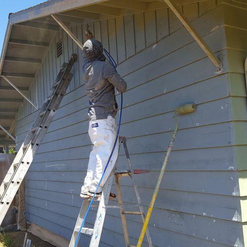starting spraying a house