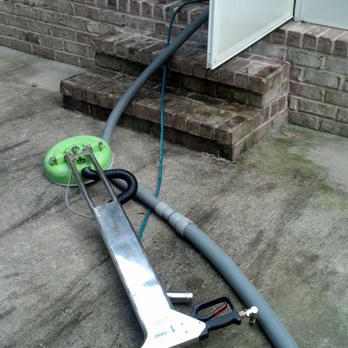 Before cleaning a patio. Had lots of mold