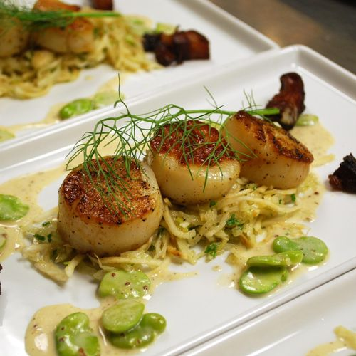 Seared Scallops with Fava beans & Mustard Sauce