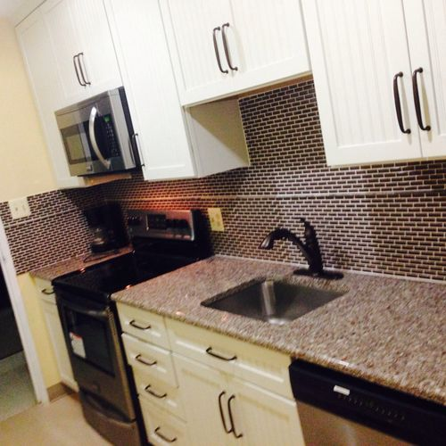 Cabinets full kitchen renovations back splash granite appliances plumbing and much more