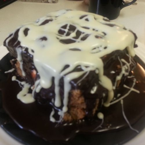 FirstTwo Tone Congac Chocolate White Gan Manrier Choc Cake with Pure Vanilla Chocolate Drizzle 3