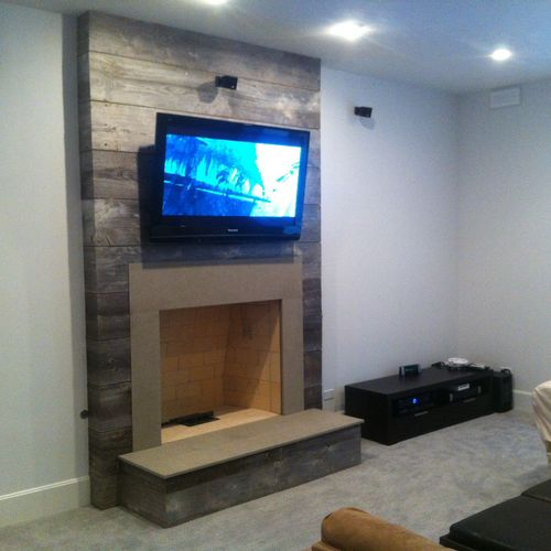 Tv over fireplace with Bose 5.1 surround system