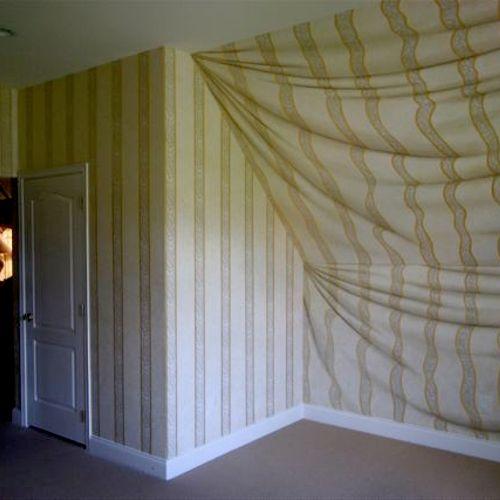 Tromp loeil painted fabric walls
