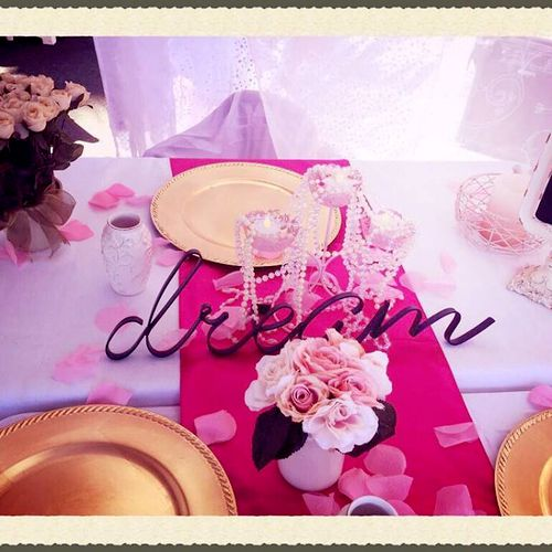 We offer TEA PARTIES!!! Here is our beautiful table setup.