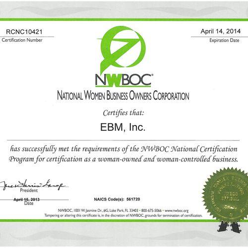 WBE - Woman Business Enterprise