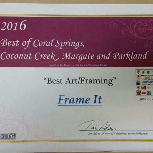 Year after year the Sun Sentinel has named us best Frame shop in Parkland and Coral Springs, we thank all of our customers for this award!