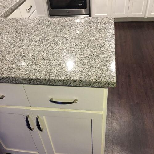New granite countertop installation