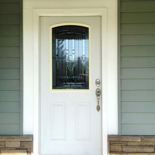 Door, siding, and vesrsetta stone