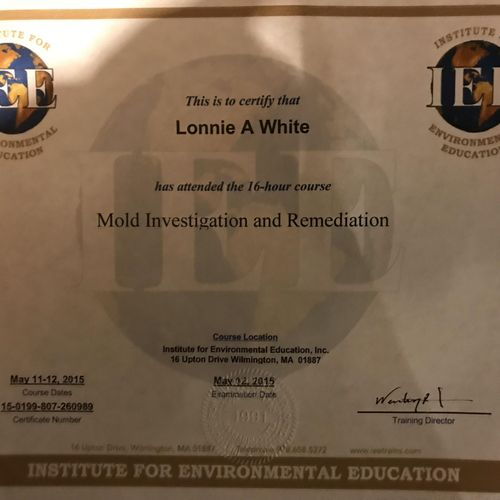 Mold remediation certificate