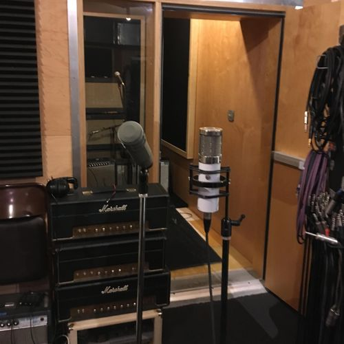 A view of the vocal and amp booth.