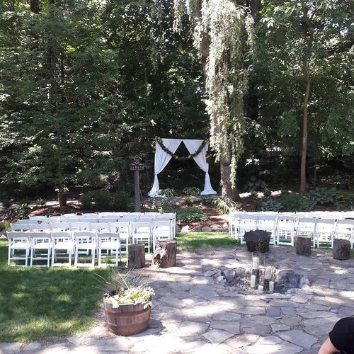 Backyard union ceremony setup