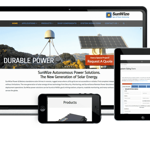 sunwize.com (Philomath, OR) required a new public facing website and a storefront for over 1000 products. We revised their logo and changed the messaging for their target market.