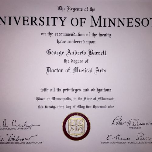 University of Minnesota Doctorate
