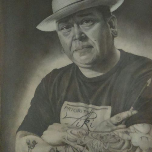 This portrait is also drawn in pencil and hangs on the right side of my own self portrait. The subject this time was my drawing teacher at the time, Tiki.