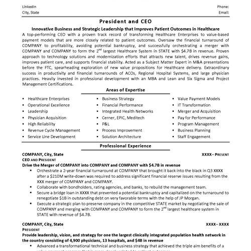 Executive Healthcare Resume