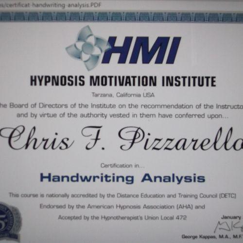 Degree in Handwriting Analysis