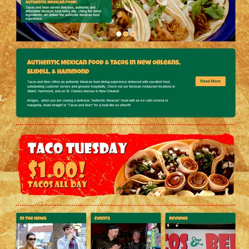Taco's & Beer. New Orleans, LA. Website for New Orleans and Slidell locations.