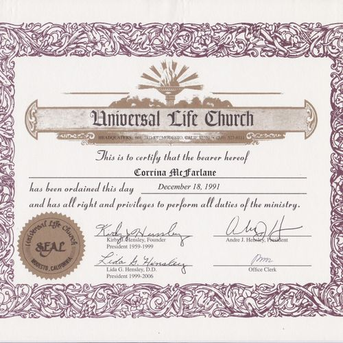 Universal Life Church Minister (ULC) ordained in 1991 ~ cross-creed/all faith/ecumenical