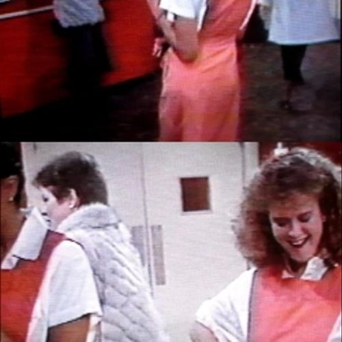 """Gloria Huffman, in white fur coat, as an extra on """"Another World"""" on TV (2/4/1985)."""