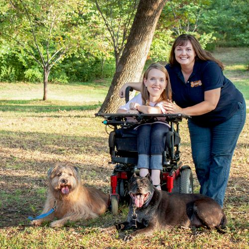 Brookanne, Schedule Manager, with Lauren and her dogs Charlie & Jacob