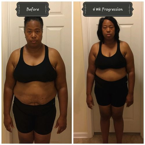 One of our motivated clients just four weeks in, and training 2 days a week. She is making Awesome progress from 240lbs now she's at 210lbs and we are just getting started!