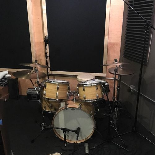 The early '70's Ludwig drumset, mic'ed up and ready to record.