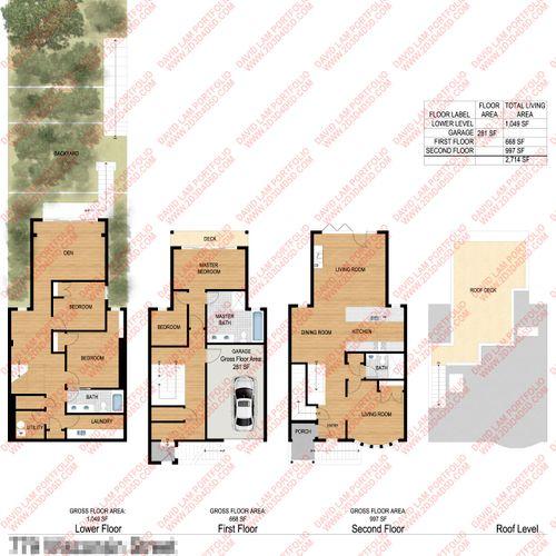 Color 2d floor plan