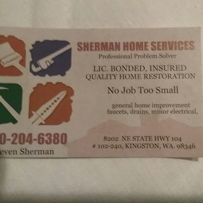 Avatar for SHERMAN HOME SERVICES Kingston, WA Thumbtack