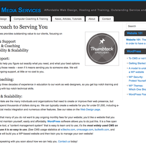 A page from my website, explaining my approach to web design and services I offer my clients.