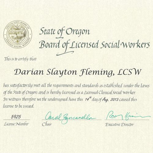 LCSW License, State of Oregon, Darian Slayton Fleming