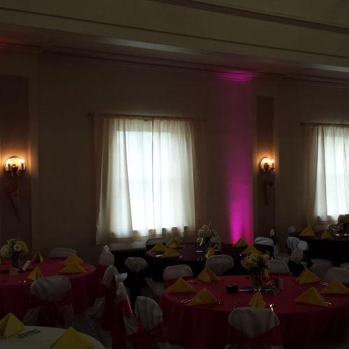 Uplighting for wedding reception at Elks Lodge in Washington, PA