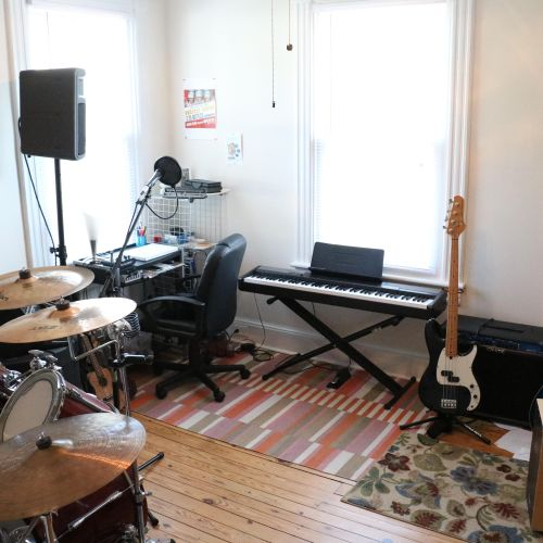 Home studio featuring a variety instruments to inspire creativity!