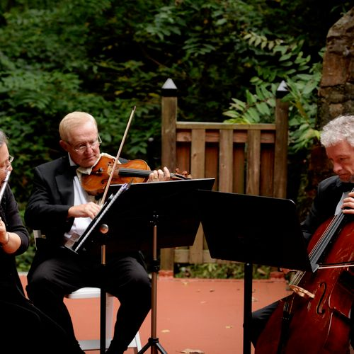 The Antares Musicians - Flute and Strings Trio - performing outdoors at a Cloisters Castle wedding