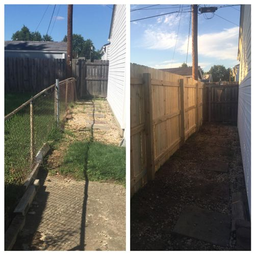 """Chain link fence before and 6"""" Privacy after."""