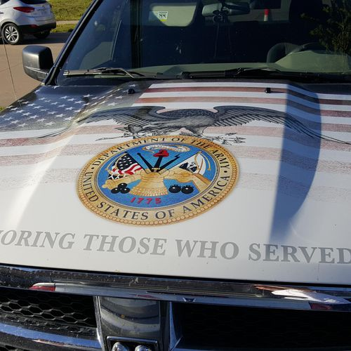 all our service tricks and vehicles have Honering our service members on the hoods