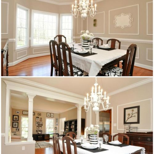 Manassas, VA client. Created a space using both traditional and modern elements by reusing the client's grandmother's dining room table and sideboard which are very traditional wood elements, and adding in the black & white scheme for a more modern touch.