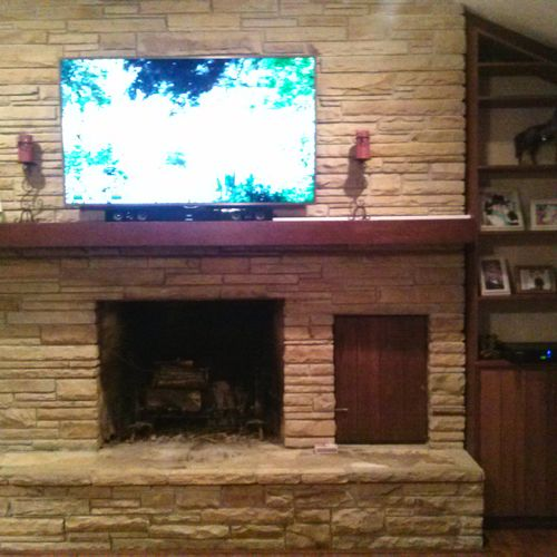 TV Mounting Over Fireplace (with wires hidden)