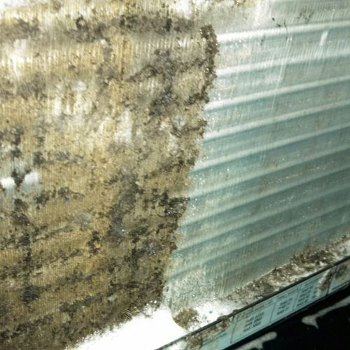 Before & After HVAC Coil Cleaning. Improves system efficiency as well as equipment life.