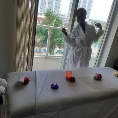 she skip the stress from going to a spa she treat herself with a wonderful birthday spa quality massage at her home