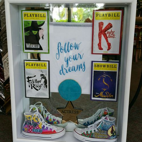 Shadow boxes are our specialty, we recommended a plexi glass mirror to reflect the hand painted converse shoes
