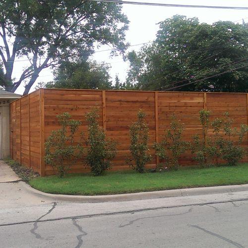 8ft tall Modern, Horizontal Cedar fence with wood trim