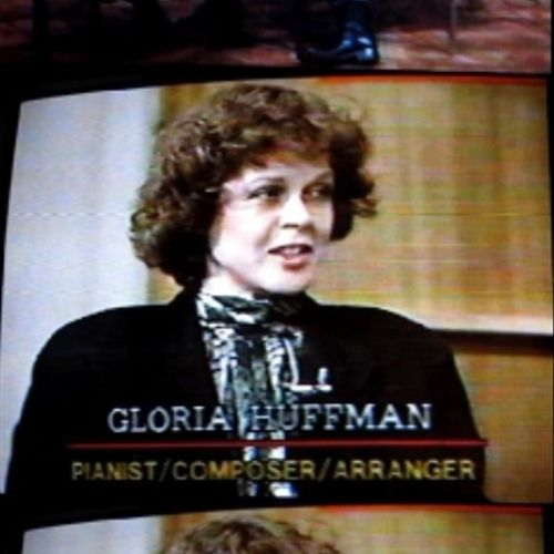 """Gloria Huffman, pianist, teacher, arranger/composer, featured guest of John Hiddlestone and Frank Gentilesca on """"Behind the Scenes,"""" on cable television (3/1/1990, aired 3/3/1990)"""