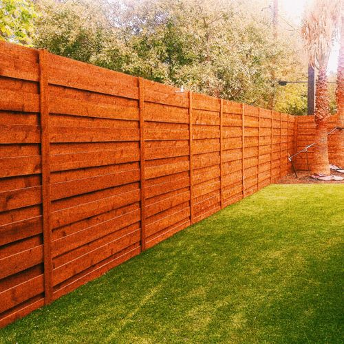 Modern, Horizontal Cedar Board-on-Board style fence; 8ft tall, stained with ReadySeal Pecan color