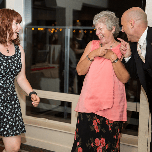 Keeping the party upbeat and FUN on the dance floor at Salty's Alki.