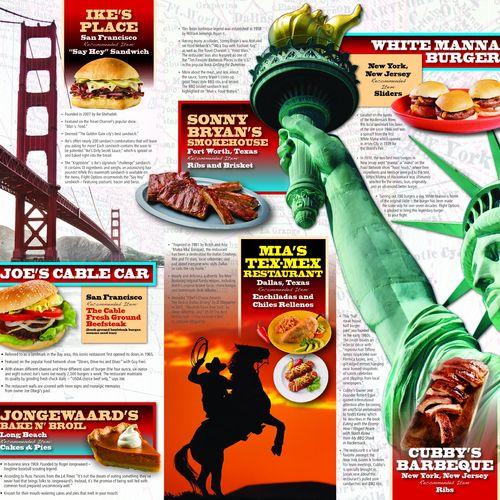 Oversize specialty catering menu that features unique restaurants.