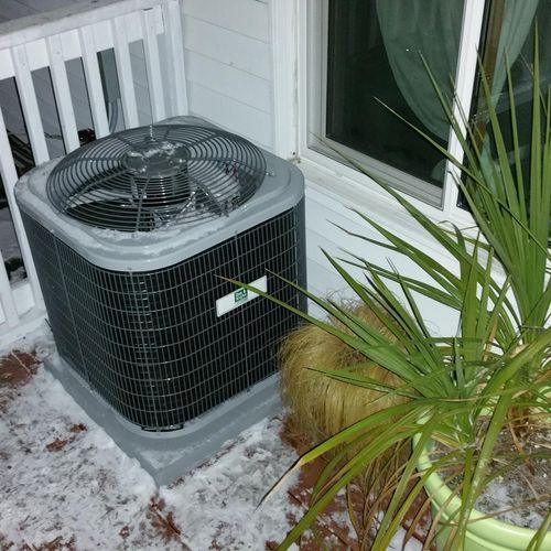 13 SEER Air Conditioner Installation on Duplex Upper Deck