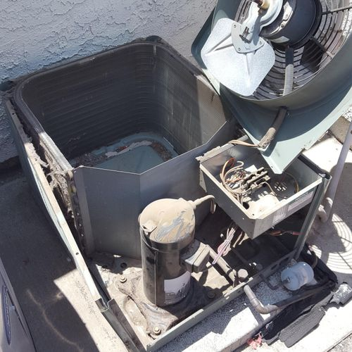 Air conditioning condenser coil cleaning. Covered with lint from dryer vent next to it.
