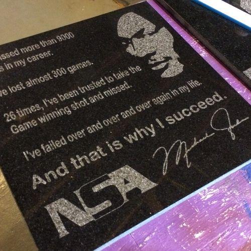 Custom Laser Engraved Black granite tile for the Nashua Sports Academy