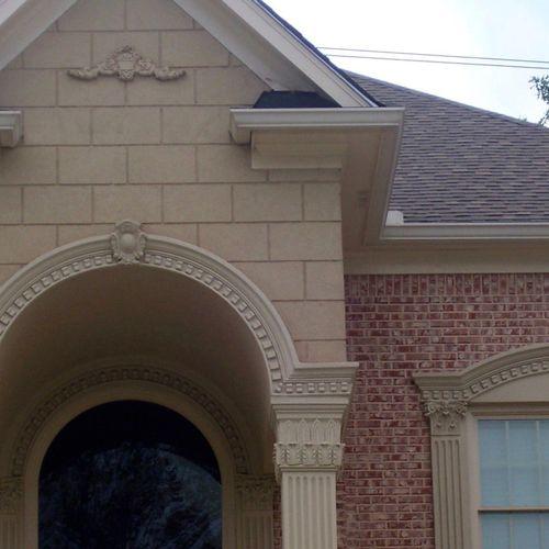 Faux stucco brick gable